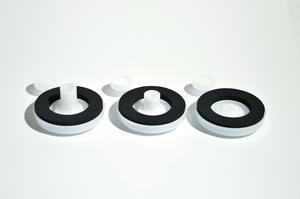 Přítlačný terčík s nyl. podložkou bílý- pro tloušťku polykarbonátu 10 mm - 2/2